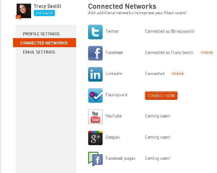 Linking and Unlinking accounts on Klout