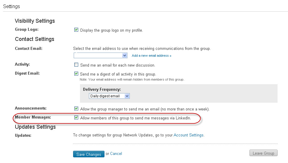 LinkedIn Group Settings