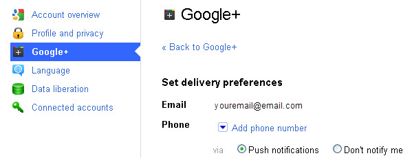 Google Plus Email Notifications