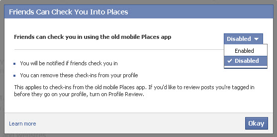 How to disable friends checking me in to places on Facebook 2011
