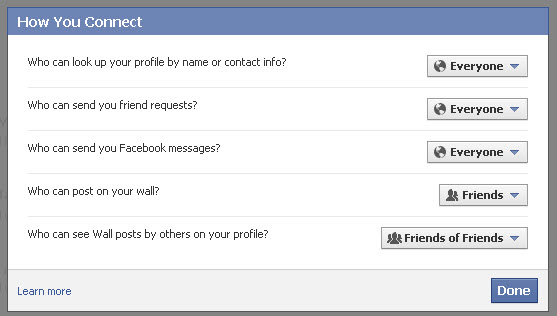 Facebook Privacy settings How You Connect