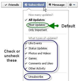 Facebook Subscription news feed
