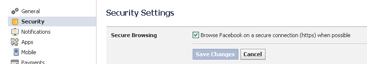 Facebook Secure Browser check box