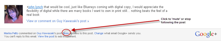 How to stop following a post on Google+