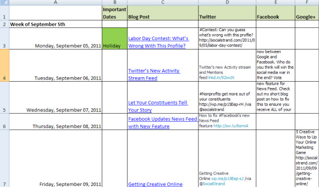 How to Create an Editorial Calendar Social Strand Media – Sample Social Media Calendar